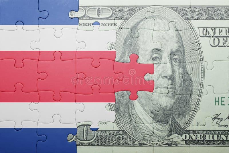Confunda com a bandeira nacional da cédula de Costa-Rica e de dólar imagens de stock