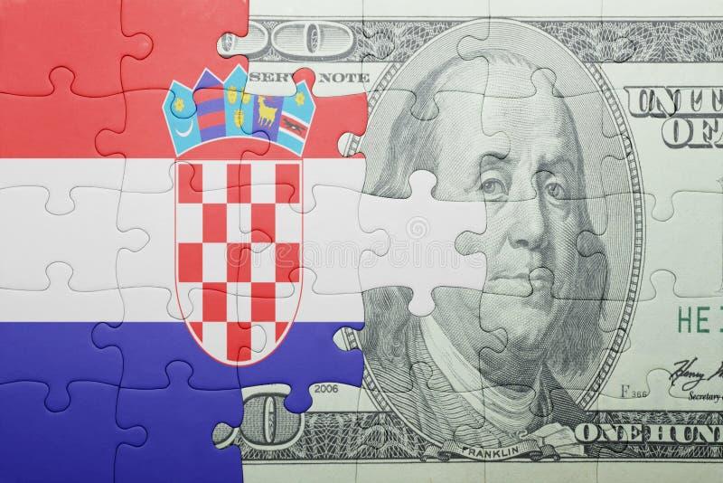 Confunda com a bandeira nacional da cédula de croatia e de dólar foto de stock royalty free