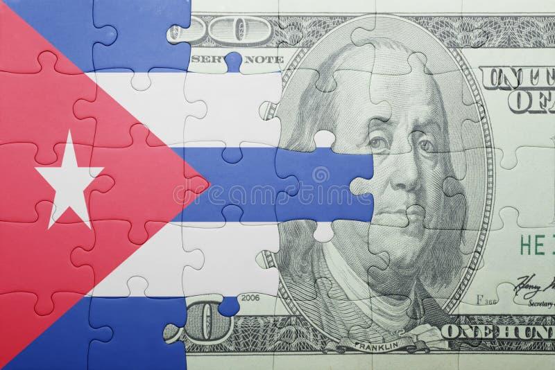 Confunda com a bandeira nacional da cédula de Cuba e de dólar foto de stock royalty free