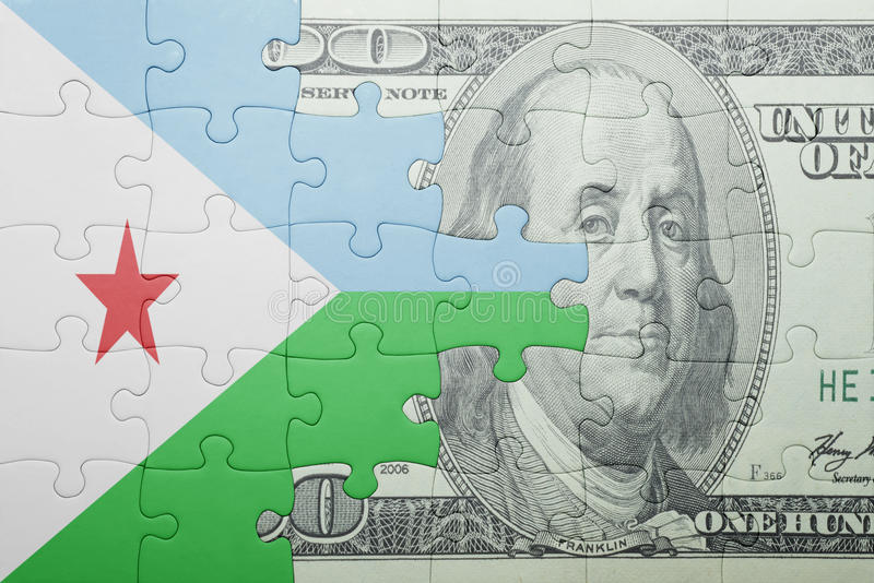 Confunda com a bandeira nacional da cédula de djibouti e de dólar fotografia de stock royalty free