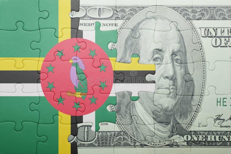 Confunda com a bandeira nacional da cédula de dominica e de dólar imagem de stock