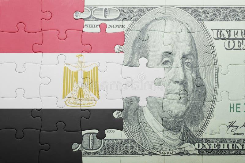 Confunda com a bandeira nacional da cédula de Egito e de dólar fotografia de stock royalty free