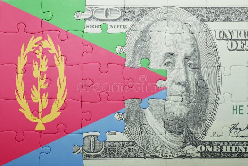 Confunda com a bandeira nacional da cédula de eritrea e de dólar fotos de stock royalty free