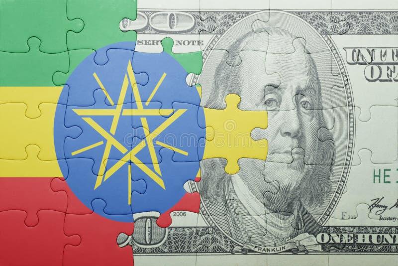 Confunda com a bandeira nacional da cédula de Etiópia e de dólar foto de stock royalty free