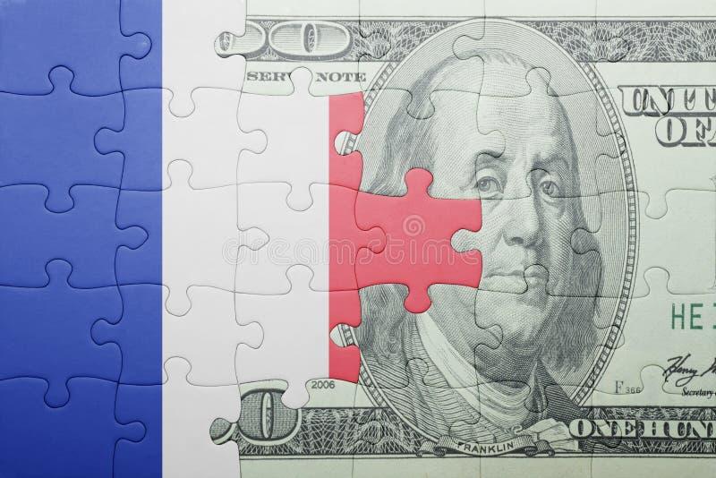 Confunda com a bandeira nacional da cédula de france e de dólar imagens de stock