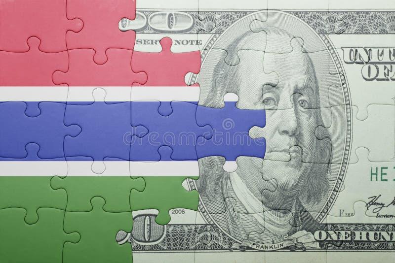 Confunda com a bandeira nacional da cédula de gambia e de dólar imagem de stock