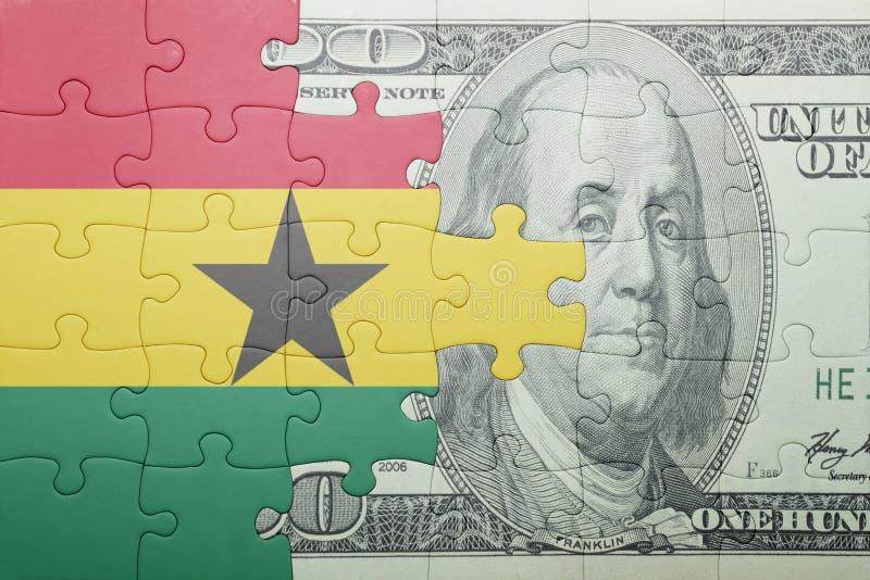 Confunda com a bandeira nacional da cédula de ghana e de dólar imagens de stock