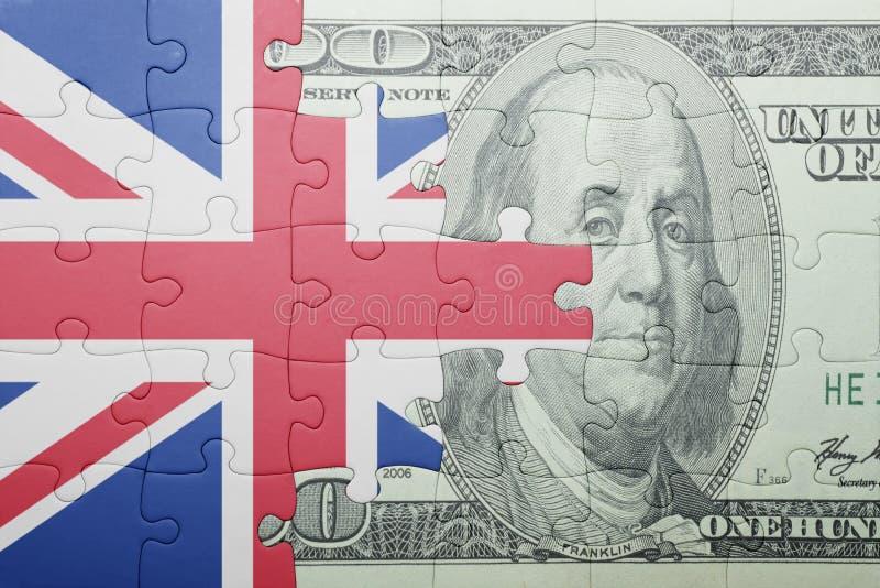 Confunda com a bandeira nacional da cédula de Grâ Bretanha e de dólar imagens de stock royalty free