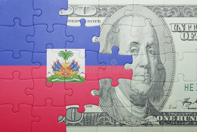 Confunda com a bandeira nacional da cédula de haiti e de dólar foto de stock