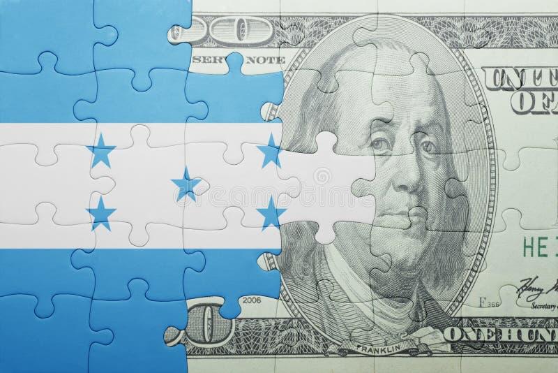 Confunda com a bandeira nacional da cédula de honduras e de dólar imagens de stock