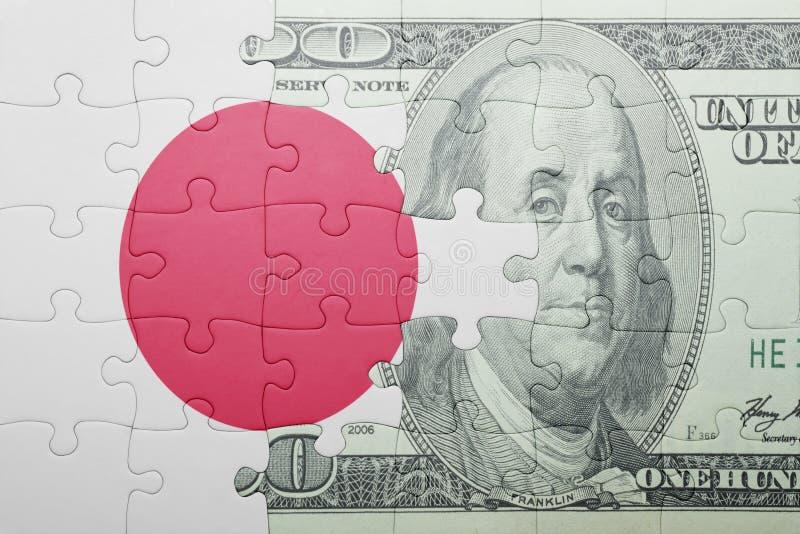 Confunda com a bandeira nacional da cédula de japão e de dólar foto de stock royalty free