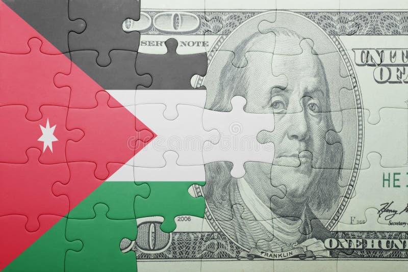 Confunda com a bandeira nacional da cédula de Jordão e de dólar foto de stock