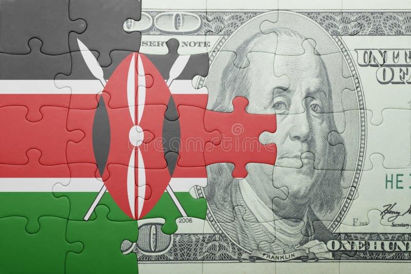 Confunda com a bandeira nacional da cédula de kenya e de dólar imagem de stock