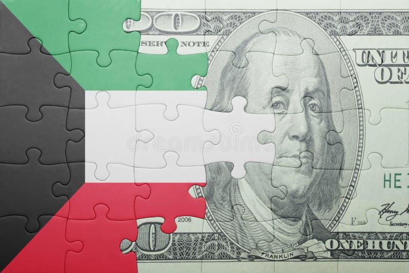 Confunda com a bandeira nacional da cédula de kuwait e de dólar foto de stock royalty free