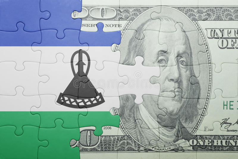 Confunda com a bandeira nacional da cédula de lesotho e de dólar fotos de stock royalty free