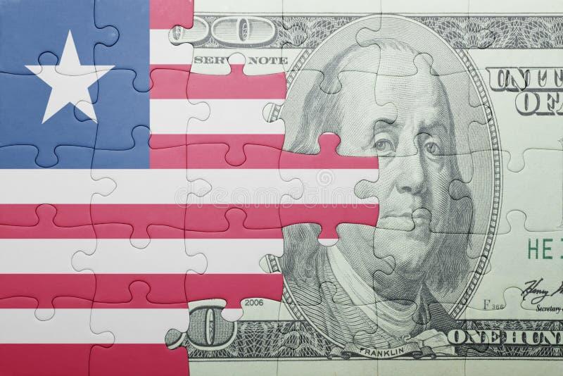 Confunda com a bandeira nacional da cédula de liberia e de dólar fotos de stock royalty free