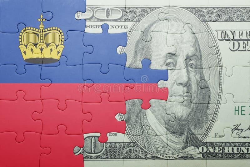 Confunda com a bandeira nacional da cédula de liechtenstein e de dólar fotografia de stock royalty free