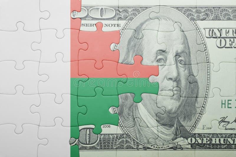 Confunda com a bandeira nacional da cédula de madagascar e de dólar imagem de stock