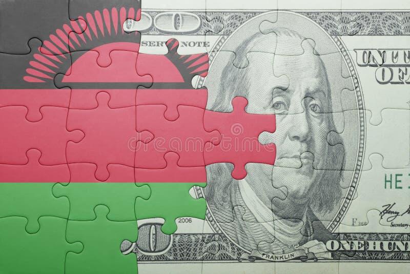 Confunda com a bandeira nacional da cédula de malawi e de dólar fotografia de stock