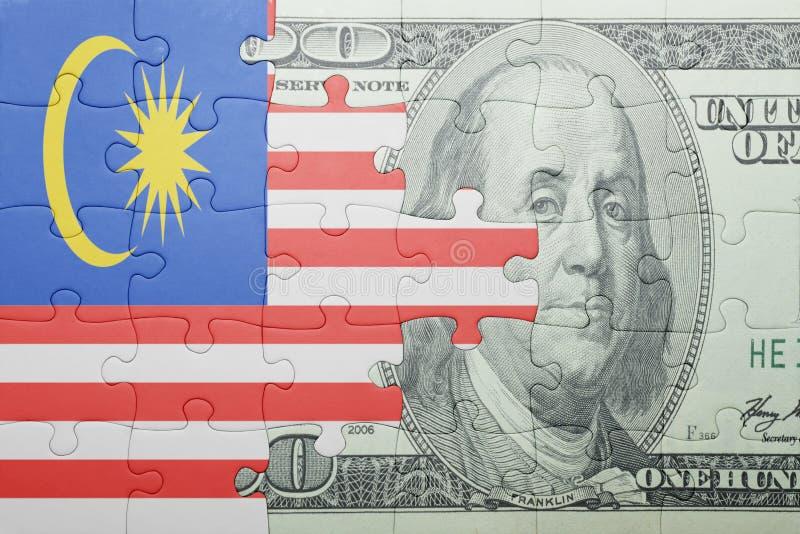 Confunda com a bandeira nacional da cédula de malaysia e de dólar imagens de stock