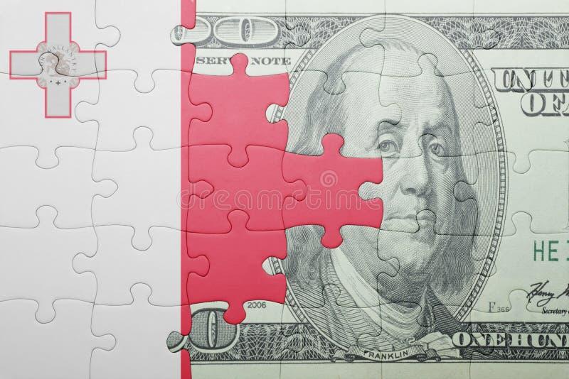 Confunda com a bandeira nacional da cédula de malta e de dólar imagens de stock royalty free