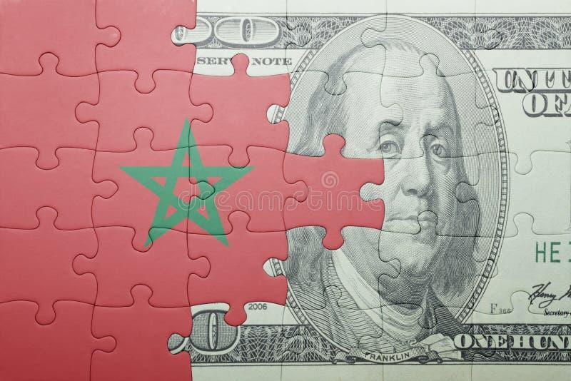 Confunda com a bandeira nacional da cédula de Marrocos e de dólar imagem de stock royalty free