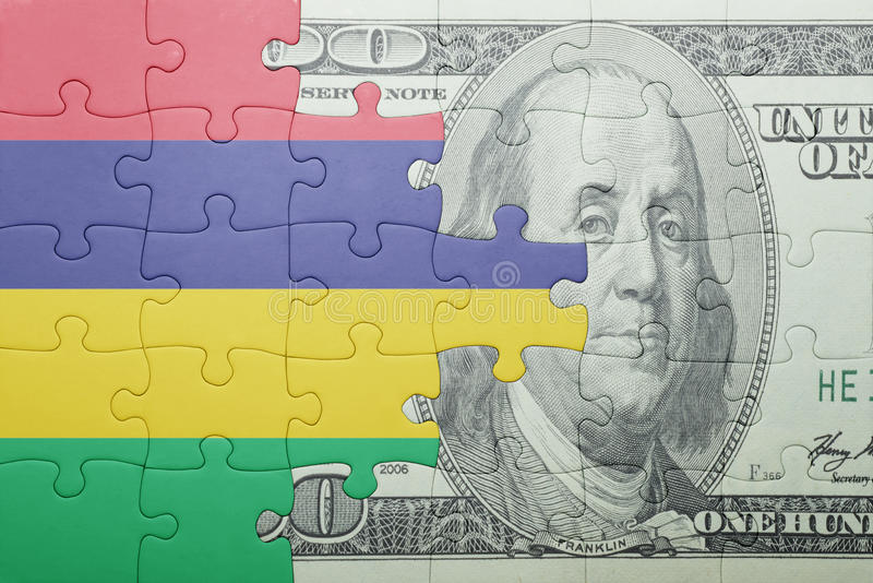 Confunda com a bandeira nacional da cédula de Maurícia e do dólar imagens de stock