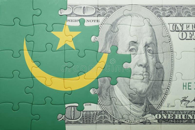 Confunda com a bandeira nacional da cédula de Mauritânia e de dólar imagens de stock royalty free