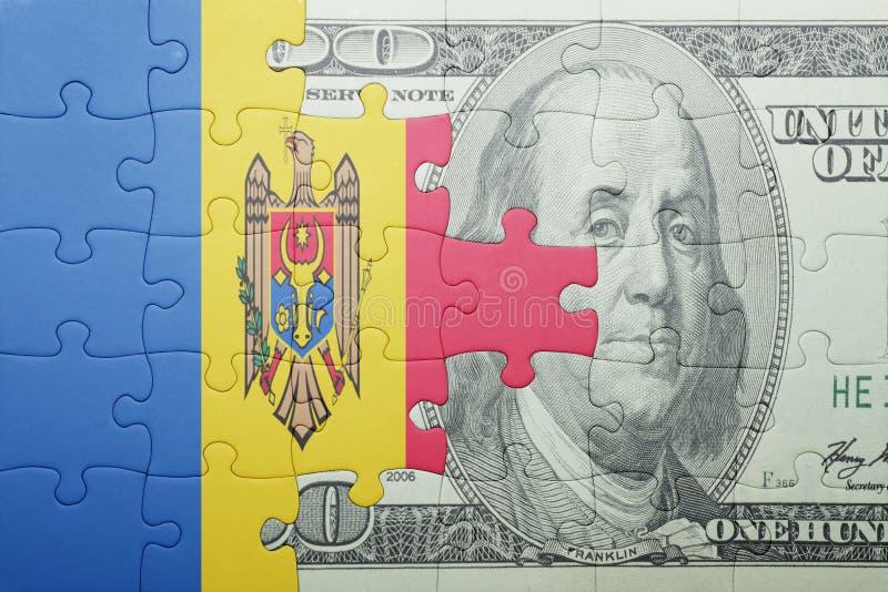 Confunda com a bandeira nacional da cédula de moldova e de dólar imagens de stock royalty free