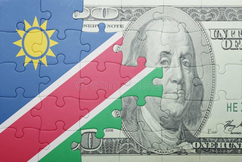 Confunda com a bandeira nacional da cédula de Namíbia e de dólar imagem de stock