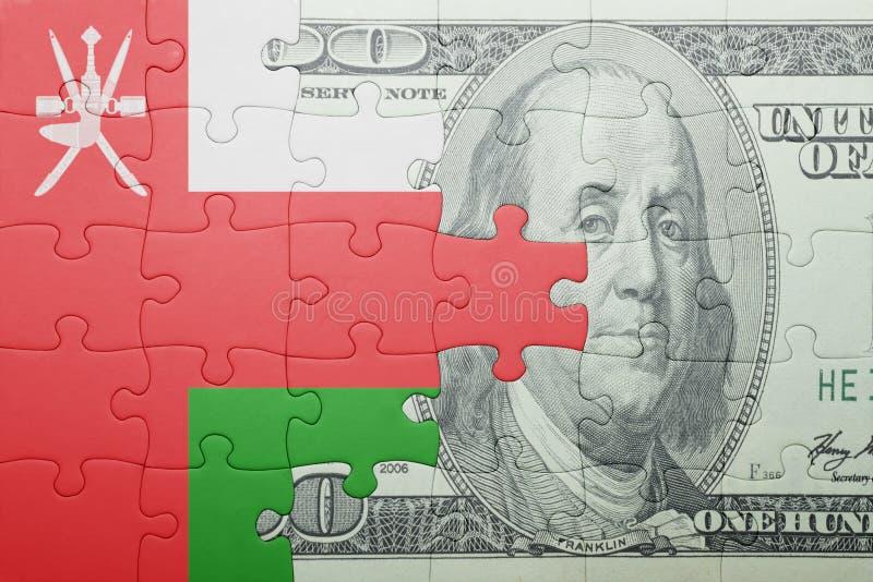 Confunda com a bandeira nacional da cédula de oman e de dólar fotografia de stock