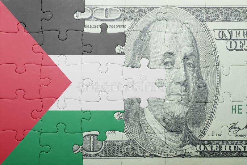 Confunda com a bandeira nacional da cédula de Palestina e de dólar foto de stock