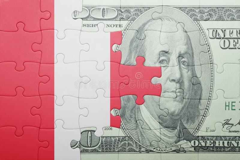 Confunda com a bandeira nacional da cédula de peru e de dólar imagem de stock royalty free