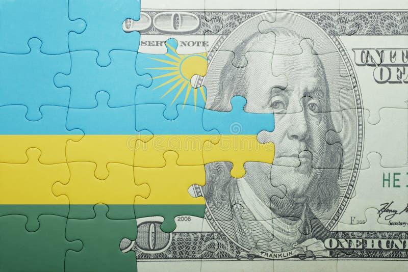 Confunda com a bandeira nacional da cédula de rwanda e de dólar fotos de stock royalty free