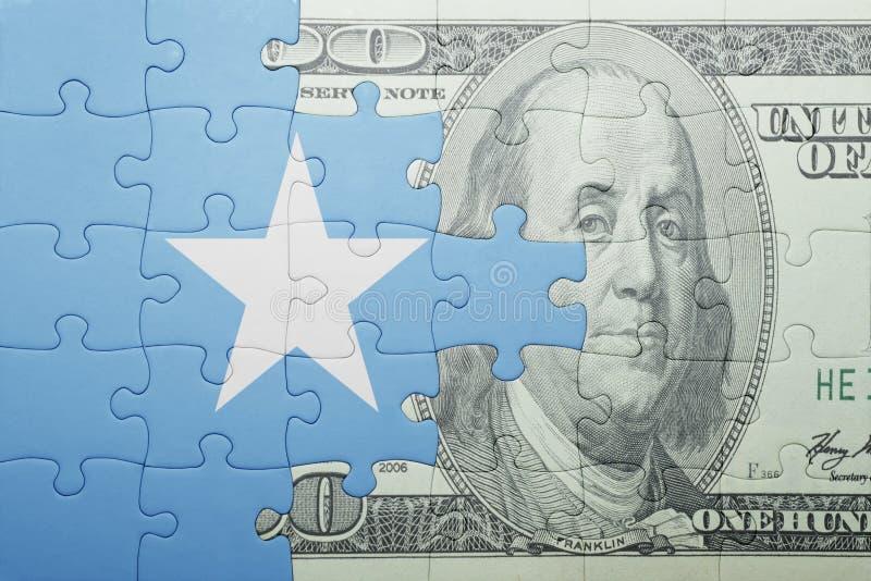 Confunda com a bandeira nacional da cédula de Somália e de dólar fotos de stock royalty free