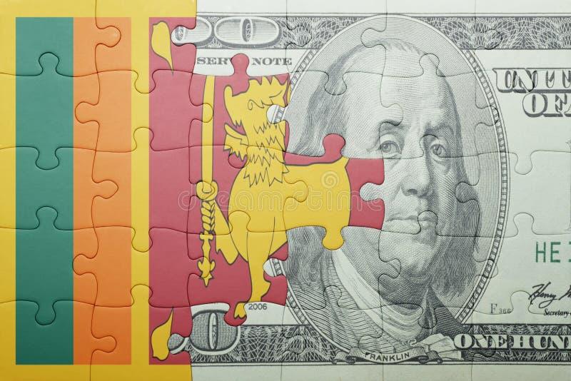 Confunda com a bandeira nacional da cédula de Sri Lanka e de dólar foto de stock royalty free