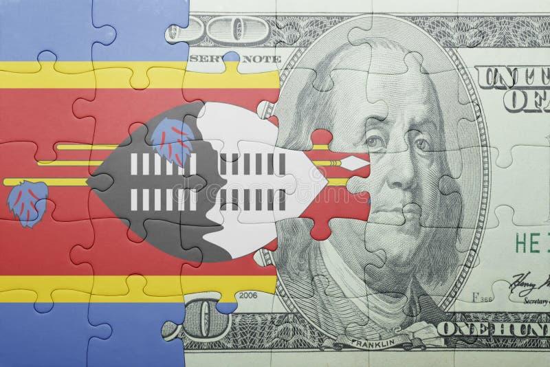 Confunda com a bandeira nacional da cédula de Suazilândia e de dólar imagem de stock royalty free