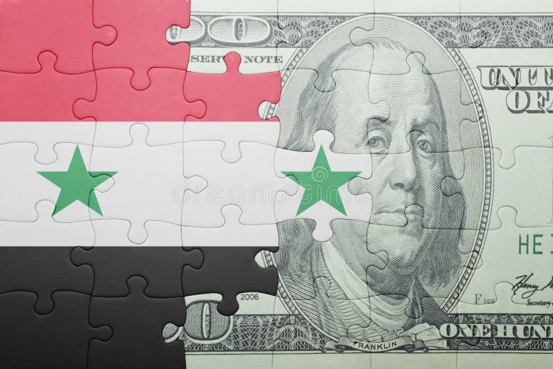 Confunda com a bandeira nacional da cédula de syria e de dólar imagens de stock