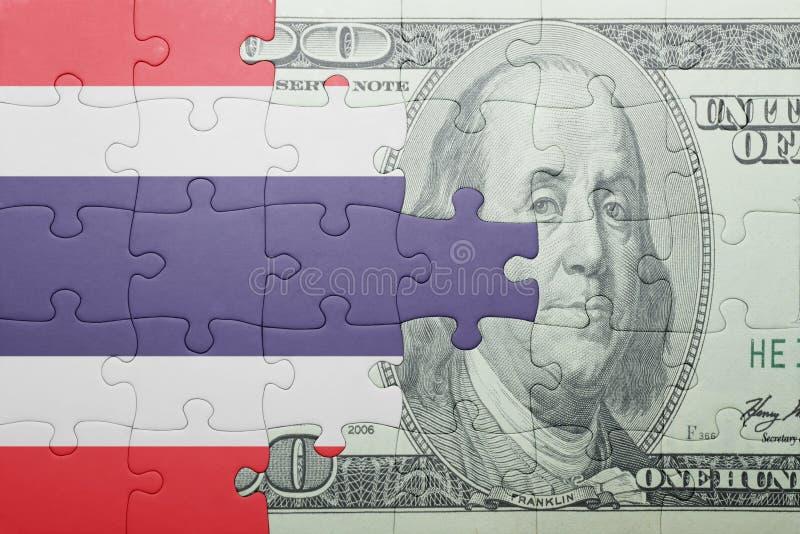 Confunda com a bandeira nacional da cédula de Tailândia e de dólar foto de stock royalty free