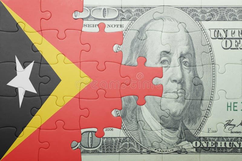 Confunda com a bandeira nacional da cédula de Timor-Leste e de dólar imagem de stock royalty free