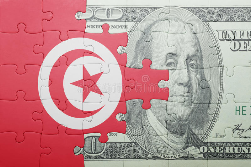 Confunda com a bandeira nacional da cédula de Tunísia e de dólar imagem de stock royalty free