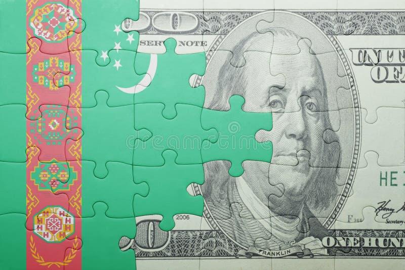 Confunda com a bandeira nacional da cédula de turkmenistan e de dólar imagens de stock