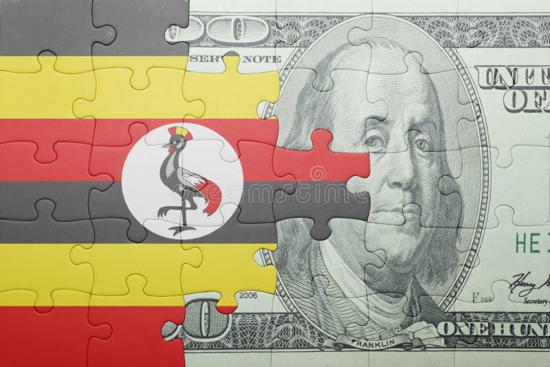 Confunda com a bandeira nacional da cédula de uganda e de dólar imagens de stock
