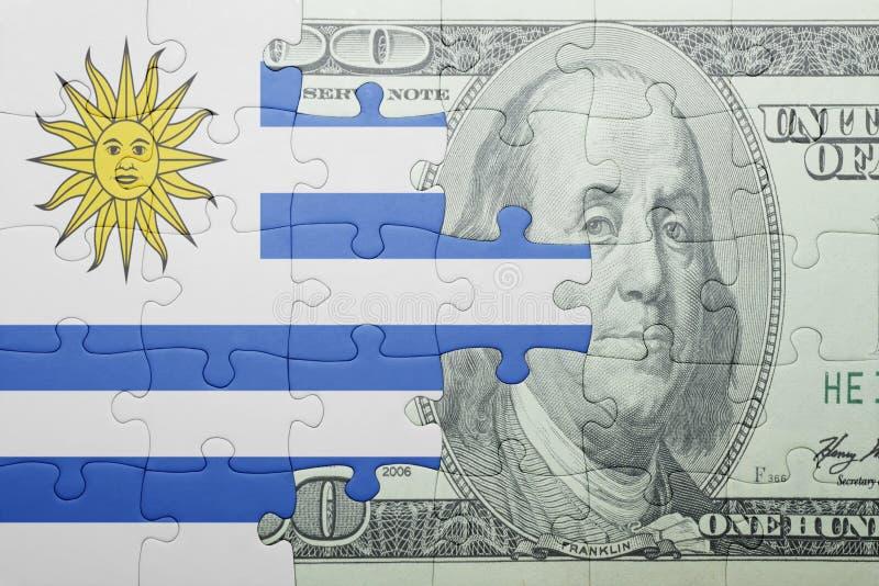 Confunda com a bandeira nacional da cédula de Uruguai e de dólar imagem de stock