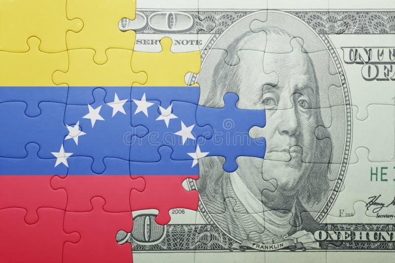 Confunda com a bandeira nacional da cédula de venezuela e de dólar fotos de stock