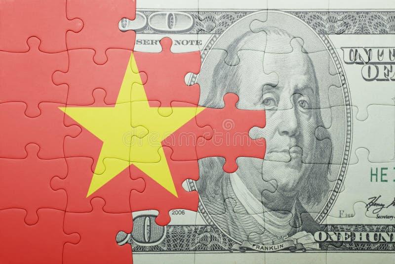 Confunda com a bandeira nacional da cédula de Vietnam e de dólar fotos de stock royalty free