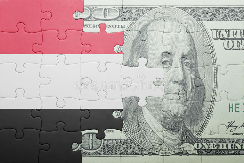 Confunda com a bandeira nacional da cédula de yemen e de dólar fotos de stock