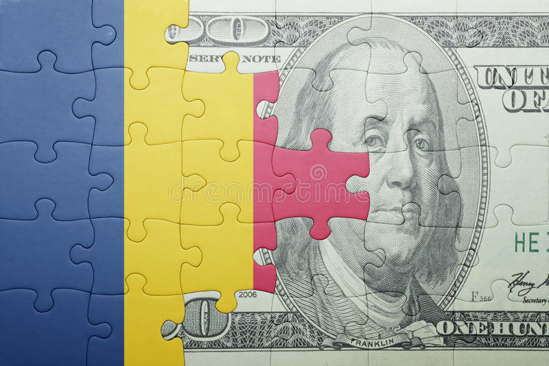 Confunda com a bandeira nacional da cédula do chad e do dólar foto de stock royalty free