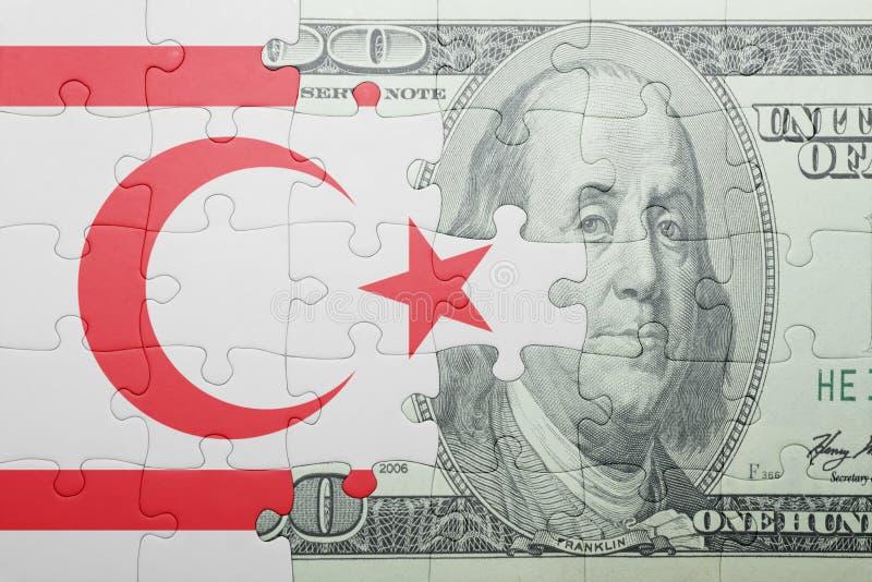 Confunda com a bandeira nacional da cédula do norte de Chipre e de dólar fotografia de stock royalty free