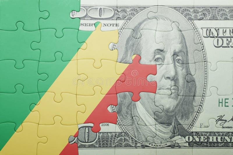 Confunda com a bandeira nacional da república Congo e da cédula do dólar fotografia de stock royalty free
